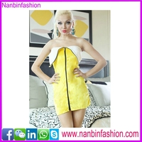 Off shoulder zipper banana fruit costume for adult dress in big stock