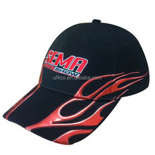 2014 good price promotion black with flat embroidery flame liquid chrome logo over panels sports cap and hat for racing event