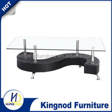 PVC covered organic glass top s shape coffee table