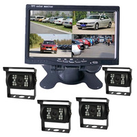 7 Inch Car Rearview Quad Split HD LCD Monitor Display with Waterproof Heavy Duty Car Backup Camera