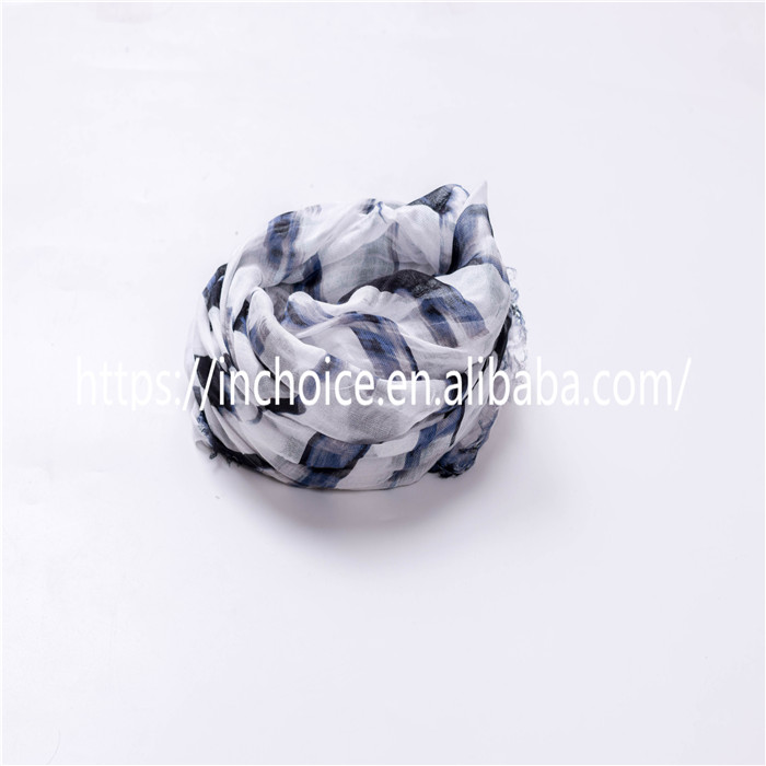Softable stripped wool/acrylic pattern scarf wrap for lady