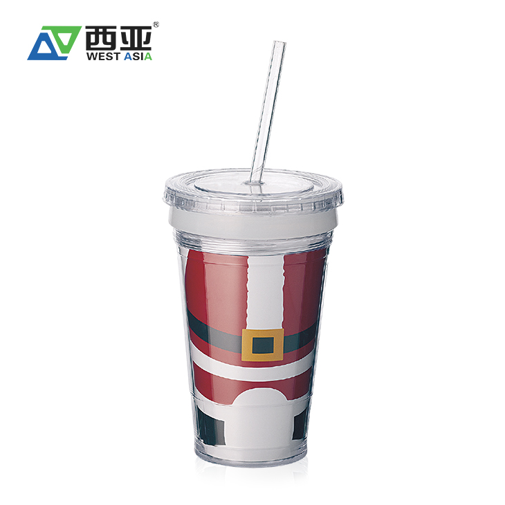 China factory juice drinking water container custom logo printed eco double wall plastic cups 16oz with straw