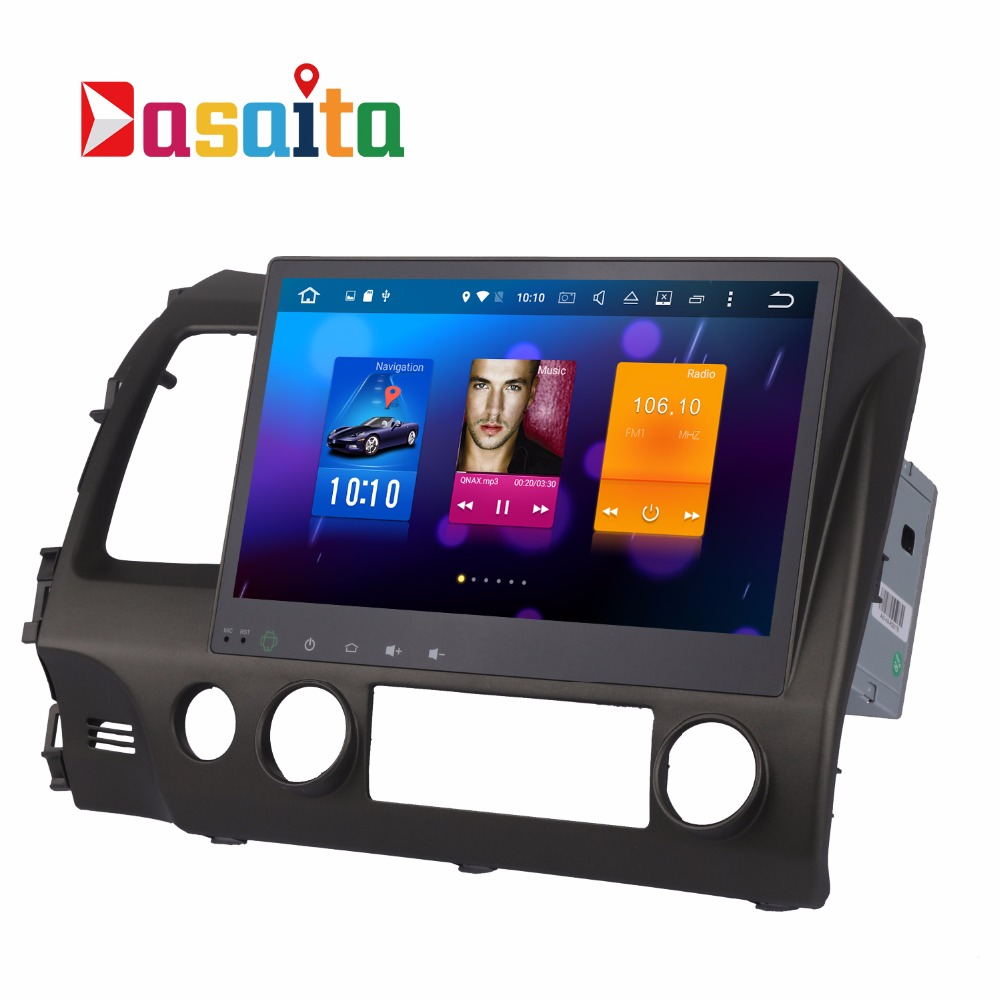 Dasaita Android 6.0 Car multimedia for Honda Civic 2009 2010 2011 DVD Player video 10.2 touch Screen GPS navigation audio system