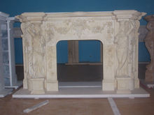 Fashion yellow marble Fireplace with Western character stone