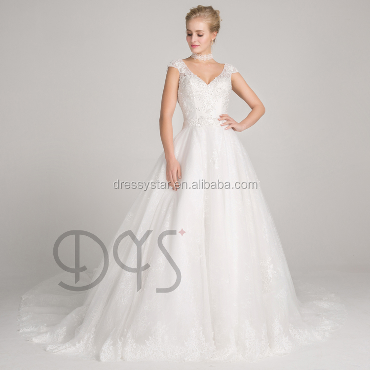 Stunning white ball gown v-neckline beaded lace backless wedding dress bridal with cap sleeves