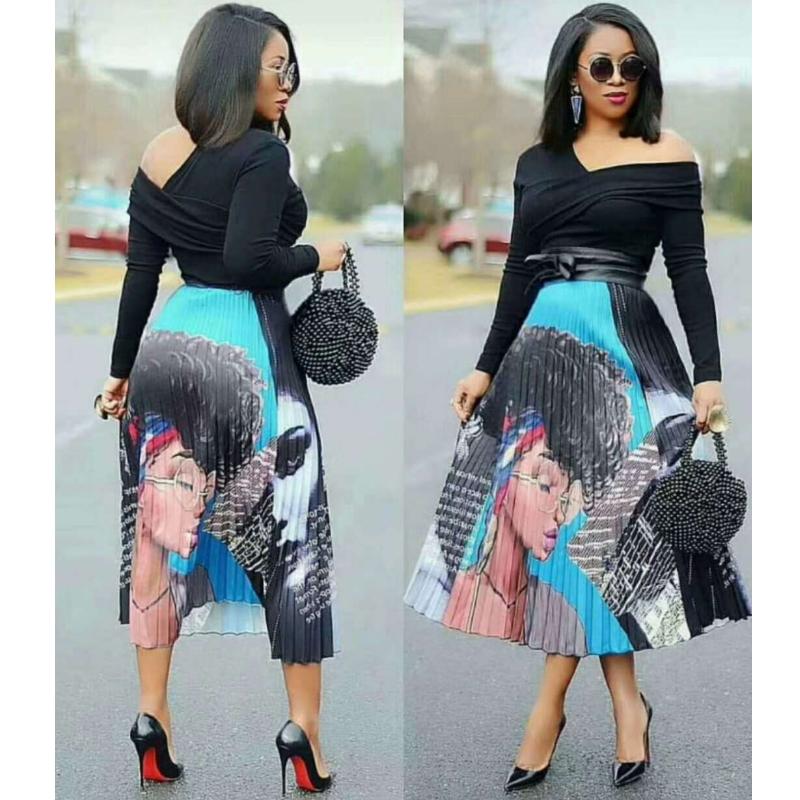Women Long African Pleated Skirt Dress
