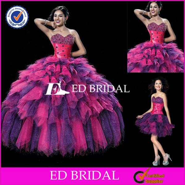 MC02 2015 New Collection Purple And Pink Ball Gown Quinceanera Dresses With Detachable Skirt