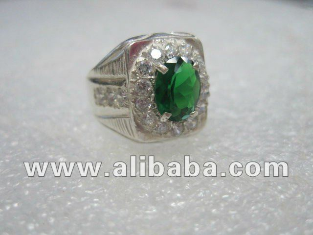 Green CZ Sterling Silver Men Ring