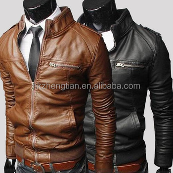 2016 Walosn Fashion Men's New jackets collar Slim motorcycle leather jacket