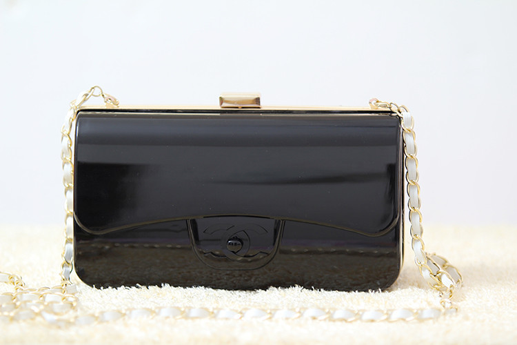 New 2015 Acrylic Brand black color Evening Bag Chain Women Clutch Box Bag Women Messenger Bags