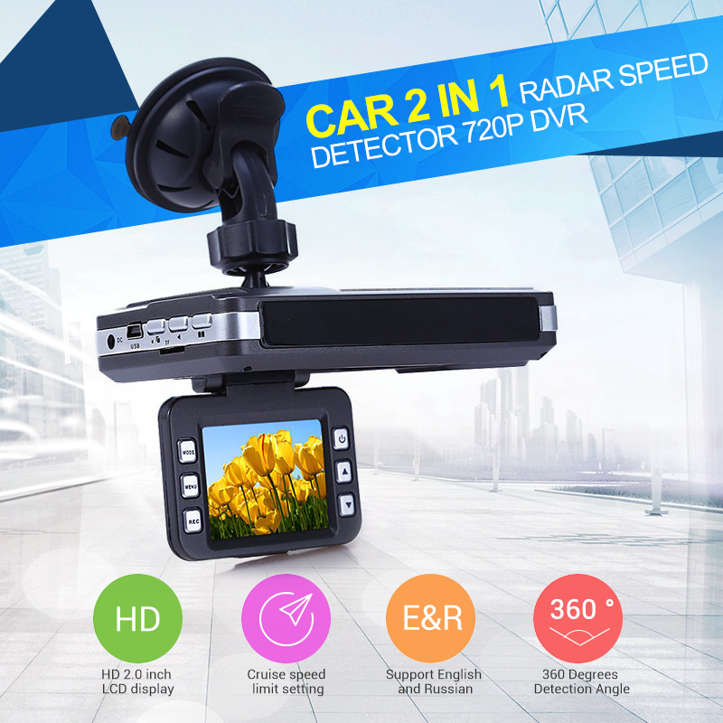 Car Radar Detector K KA Band with Car DVR Camera 720P Video Recorder