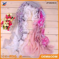 2017 new design flower digital print chiffon scarf made in China