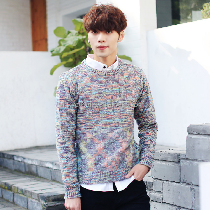Cheap crew neck autumn winter colorful print man's knitted pullover sweater