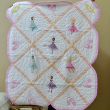 2017 Ballerina girl 100% Cotton handmade quilts embroidery baby patchwork quilt