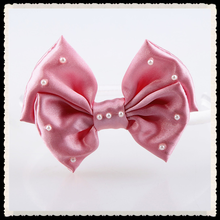 pink grosgrain ribbon bow with pearl hair band