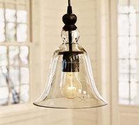 Ecopower 1 Light Vintage Hanging Big Bell Glass Shade Ceiling Lamp Pendant Fixture