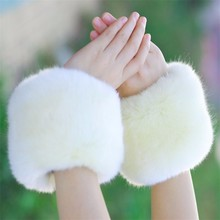 Women Winter Faux Rabbit/Fox Fur Oversleeve Hand Muff Wrist Arm Warmer Cuff Cover Fuzzy Furry Wristband