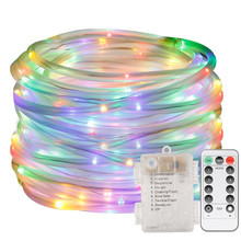 LED Dimmable Rope Lights Battery Powered 33ft 120 LED 8 Mode with Timer Waterproof String Light for Garden Patio Party Christmas