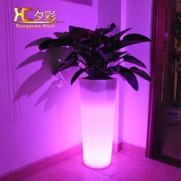 Giant Round Plastic Floor Vase Light Up LED Decorative Flower Pot For Garden Wedding Hotel Resturant