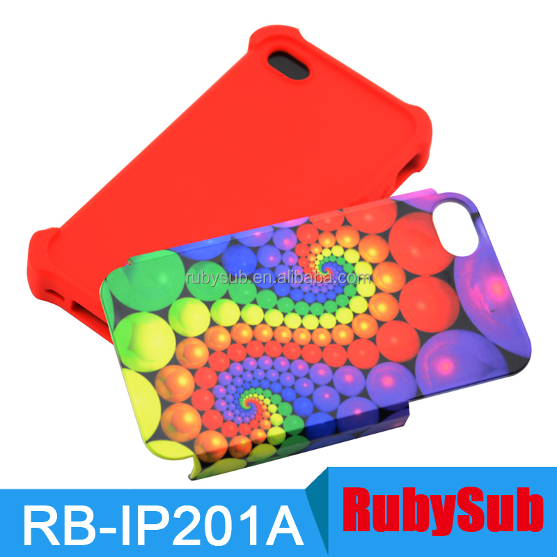 10 PCS/Lot 2 in 1 PC Silicon 3D Sublimation Phone Cases Blanks for IPHONE5/5S/SE/6/6S Covers Sublimation Printing