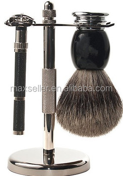 Shave Set - Safety Razor, Stand & 100% Pure Badger Brush Included