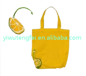 promotional cute yellow lemon unique folding fruit shaped shopping bags