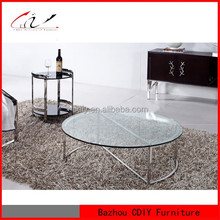 Round Glass Living Room Center Coffee Table