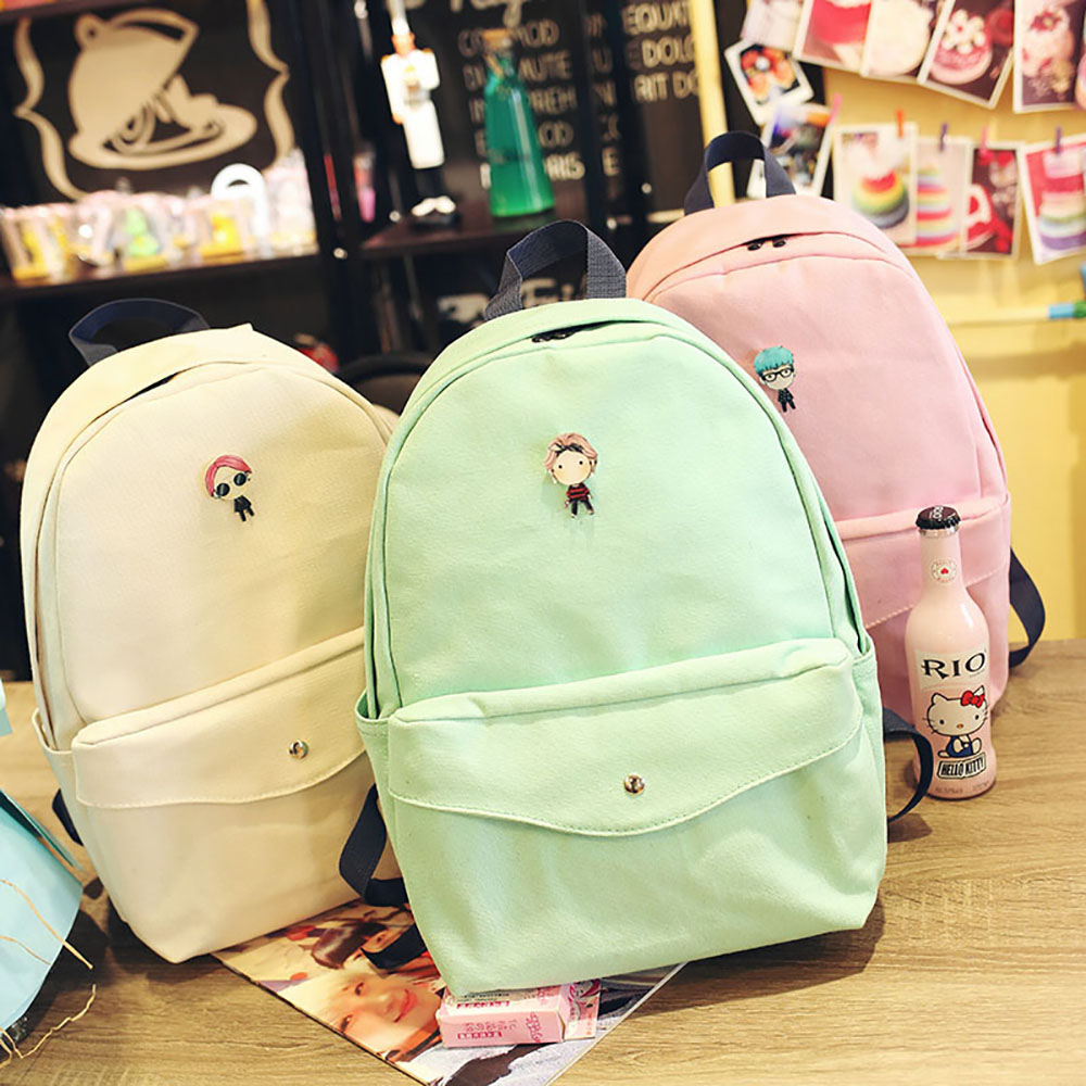 Hot Selling Korean Fashion Girl 's Clear Canvas Travelling School Laptop Backpack
