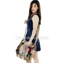 CX-H-29 High Quality Fashion Leather Handbags Women Real Fox Fur Ladies Hand Bag