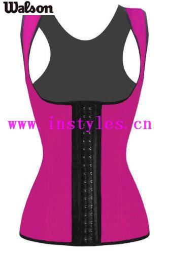 Women's Latex Rubber Waist Trainer Cincher Underbust Corset Body Shaper Bustier