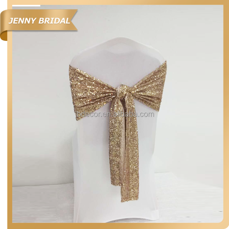 C344B cheap wholesale champagne gold sequin sashes tie back chair covers chair ties for wedding decoration
