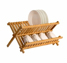 bamboo dish rack wooden plate rack foldable dish drying rack dish drainer