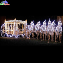 Unique outdoor LED christmas light horse carriage