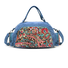 Fashion fancy hipster women cotton quilted fabric embroidered floral duffle travel bag, shoulder handbag tote travelling bag