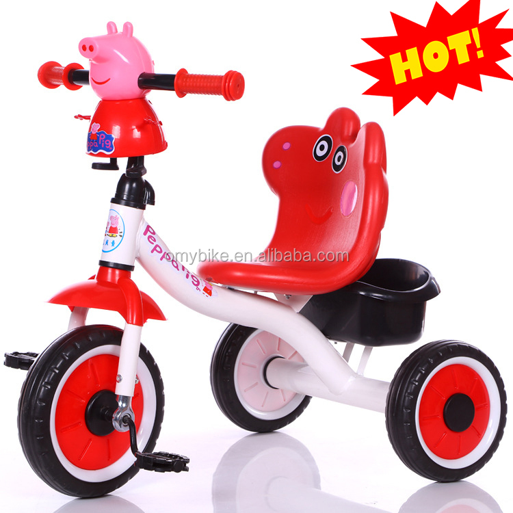 China manufacturer hot sale cartoon design Peppa Pig 3 wheels wholesale baby carrier tricycle for children