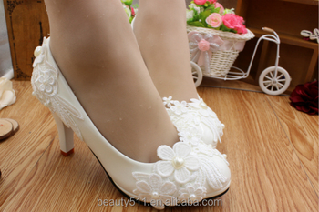 White flower bud silk waterproof platform heel water diamond wedding shoes wedding dress shoes for women's shoes WS016