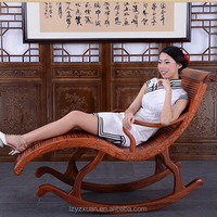 2016 high quality antique unique design natural hand-carved wooden rocking chairs for sale