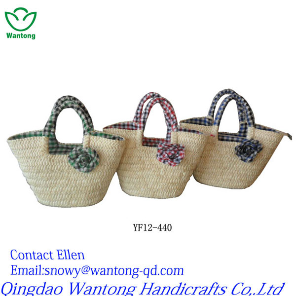 simple and fashional corn hust women straw bag