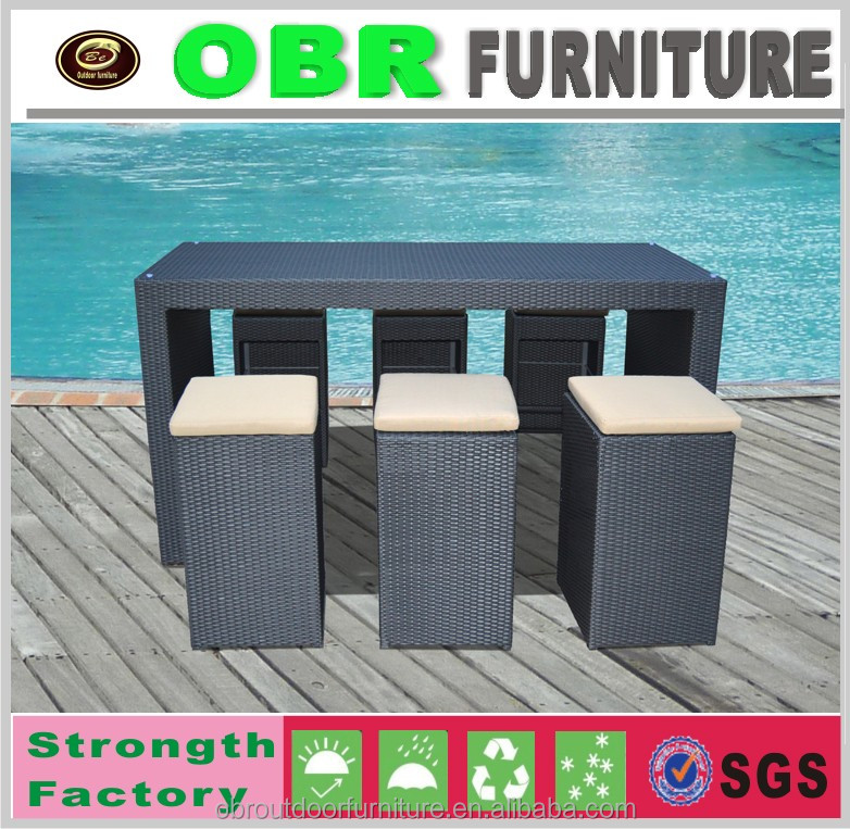 Outdoor furniture rattan garden bar table and chairs