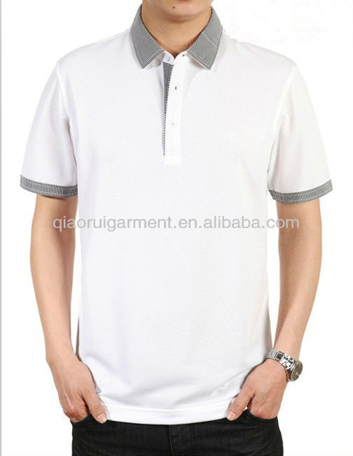 mens contrasting collar 100% cotton white short sleeve breathable polo shirts with spread collar