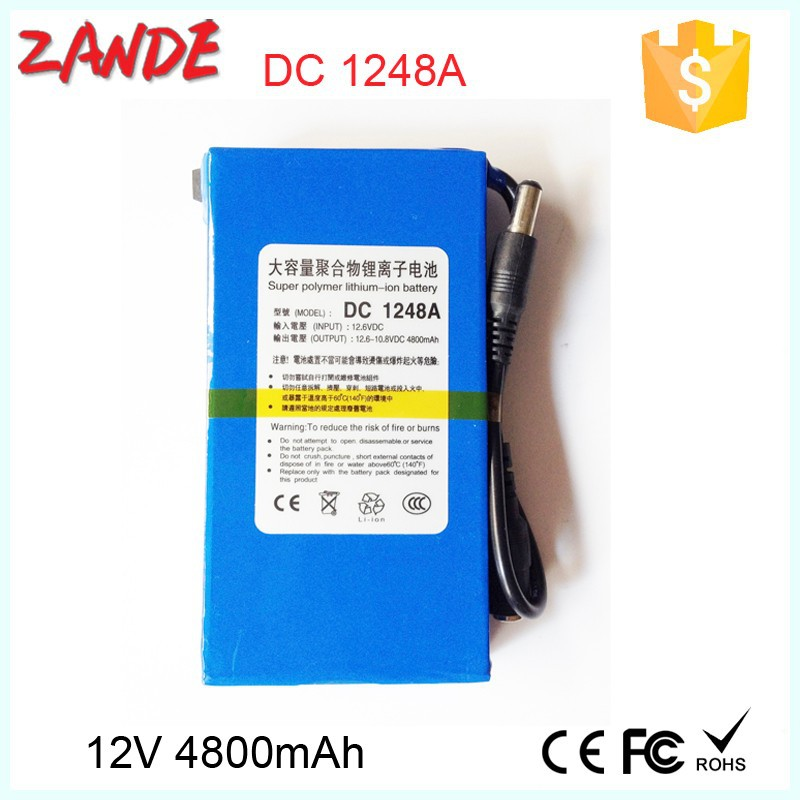 Factory wholesale 4800mAh 12V super Rechargeable lithium ion Battery Pack for LED strips