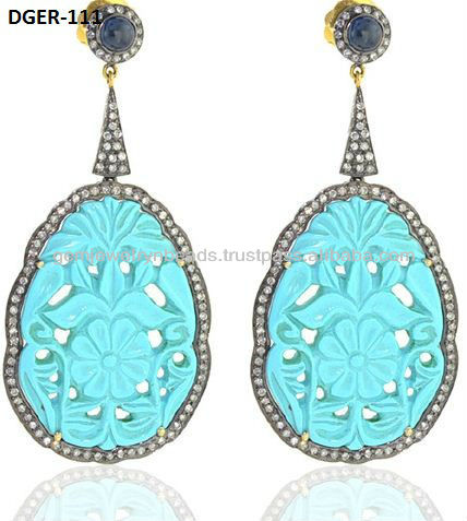 Diamond Carving Turquoise Sapphire Dangle Drop Earrings 14k Gold Silver Diamond Stud Tekewala Jewlery Diamond pendant