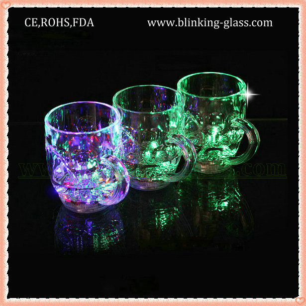 PS Plastic food grade LED Flashing skull mug Light-up skull tumbler