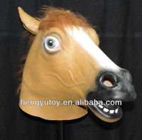 top selling full head like latex king crown cap mask pretty vivid realistic horse head mask for Brazil world cup