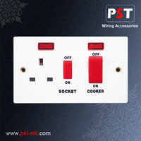 45A Electric Switch With Indicator Lamp and 13A Socket With Neon For Cooker