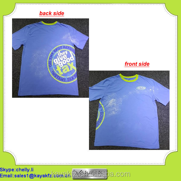 stone washed cheap promotional t shirts with logo printed on front and back side