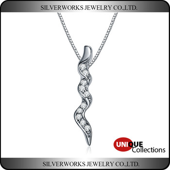 925 Sterling Silver Long Spiral Pendant With Paved Zircon