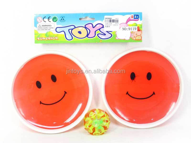 New Style Sport Toy Flashing Acetabula Ball, 18CM Plastic Smile Face Suction Cup Ball With Light