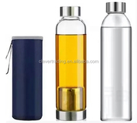 wide double mouth high borosilicate glass water bottle