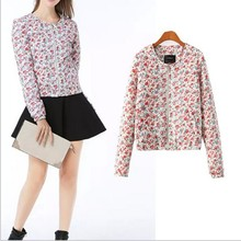 EY0110A Floral Print Women jackets coats ladies outwear women half jacket 2014